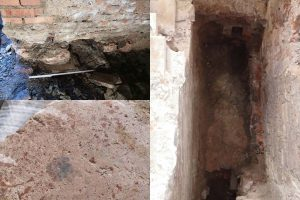 Fig. 7 – Pavimenti in cocciopesto trecentesco di edifici preesistenti all'ampliamento del 1391