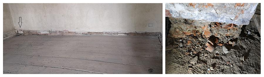 Fig. 10 - Evidente obliquità del solaio (a sinistra) dovuta a pregressi cedimenti causati da elementi murari privi di fondazione (a destra)