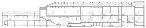 Fig. 1 - Rilievo: sezione di Palazzo Schifanoia (prima degli interventi)