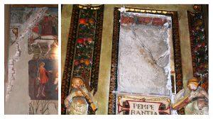 Fig. 3 - Riapertura di lesioni antiche: a sinistra, Salone dei Mesi, scomparto di Maggio; a destra, Sala delle Virtù