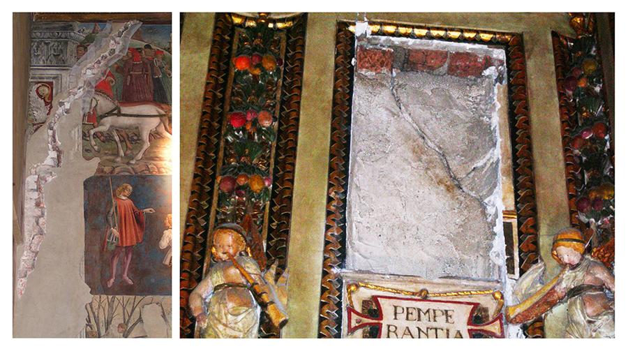 Fig. 3 - Riapertura di lesioni antiche: a sinistra, Salone dei Mesi, scomparto di Maggio, a destra Sala delle Virtù